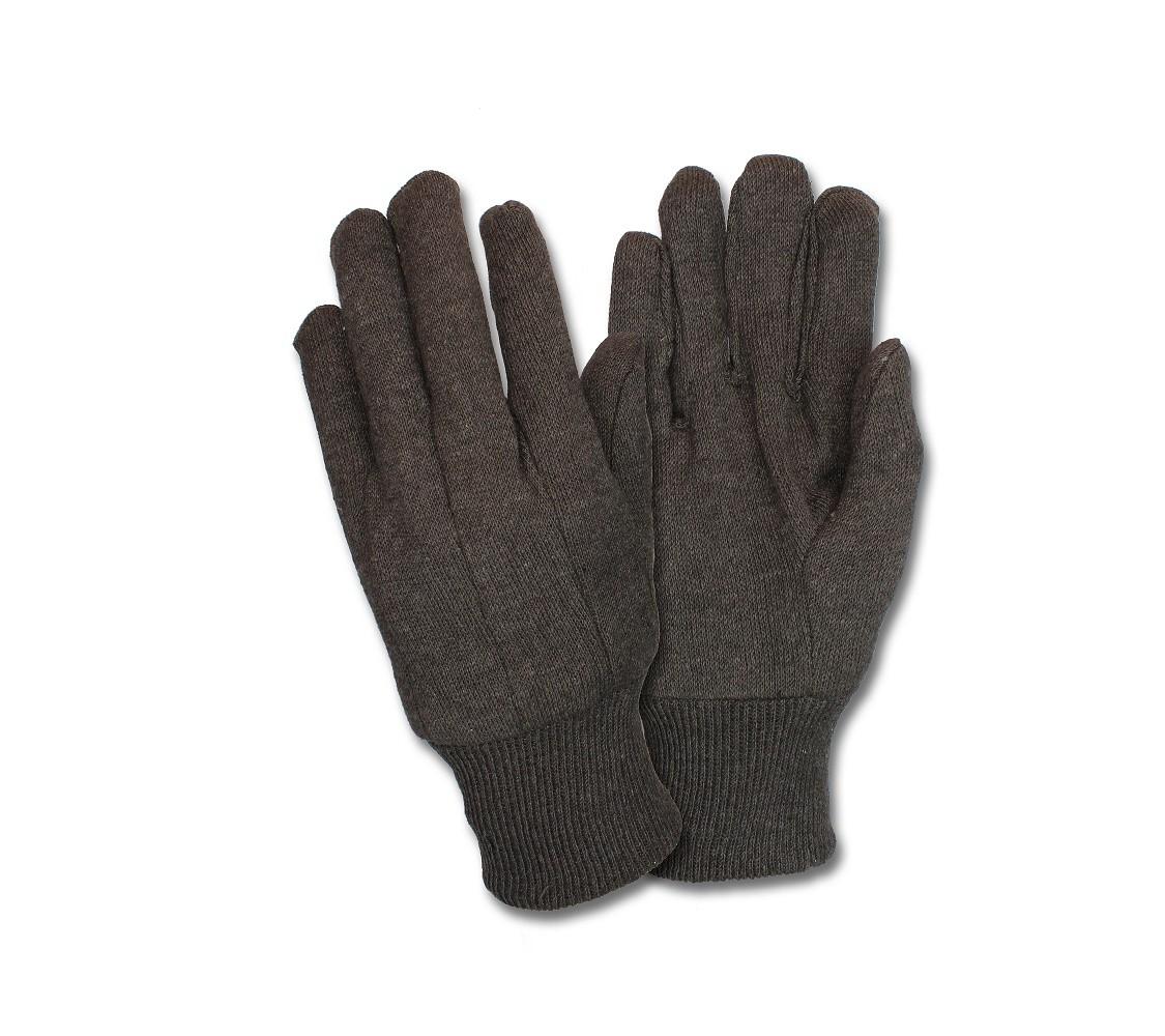 Black PVC Dotted Palm Brown Jersey, 1DZ Pair/Bag