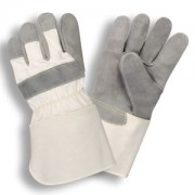 SIDE SPLIT LEATHER, WHITE CANVAS BACK, RUBBERIZED GAUNTLET CUFF, ARAMID SEWN
