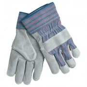 FULL LEATHER PALM W/RD/BLU STRIPE FABRIC 2 1/2IN
