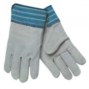 LARGE FULL LEATHER BACKGLOVE BLUE FABRIC