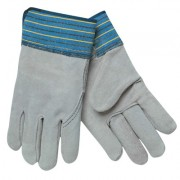 XL FULL LEATHER BACK GLOVE BLUE FABRIC