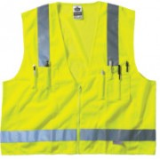 LIME SURVEYOR VEST SOLID/MESH ZIP