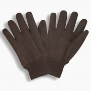 PVC MICRO-DOTTED BROWN JERSEY, KNIT WRIST
