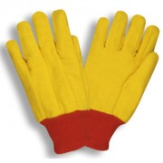 YELLOW CHORE, SINGLE PLY, RED KNIT WRIST