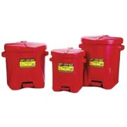 6-GAL. RED POLY OILY WASTE CAN W/FOOR LEVE