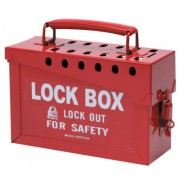 PORTABLE METAL LOCK BOX- RED
