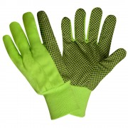 HI-VIS LIME CANVAS, BLACK PVC DOTS, LIME KNIT WRIST