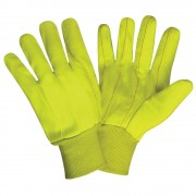 HI-VIS ORANGE DOUBLE PALM, POLYESTER/COTTON CORDED CANVAS, NATURAL KNIT WRIST