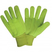 HI-VIS YELLOW DOUBLE PALM, 100% COTTON CORDED CANVAS, YELLOW KNIT WRIST