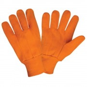 HI-VIS ORANGE DOUBLE PALM, 100% COTTON CANVAS , ORANGE KNIT WRIST