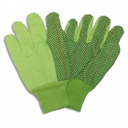 HI-VIS LIME DOUBLE PALM, 100% COTTON CORDED CANVAS, BLACK PVC DOTS, LIME KNIT WRIST