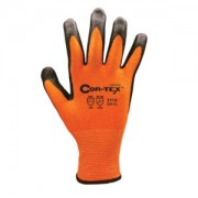 COR-TEX™ HI-VIS ORANGE 13-GAUGE HPPE PLAITED SHELL, BLACK SANDY NITRILE PALM COATING, ANSI CUT LEVEL 2
