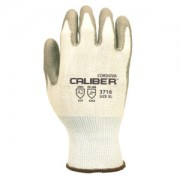 CALIBER™ WHITE 13-GAUGE HPPE SHELL, GRAY POLYURETHANE PALM COATING, ANSI CUT LEVEL 2