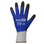 TUF-COR™ 13-GAUGE HPPE SHELL, BLUE NITRILE FULL COATING, BLACK SANDY NITRILE PALM COATING, ANSI CUT LEVEL 2