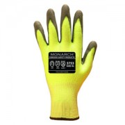 MONARCH-PU™: 13 GAUGE, HI-VIS GREEN HIGH PERFORMANCE SHELL, GRAY POLYURETHANE PALM COATING, ANSI CUT LEVEL A3