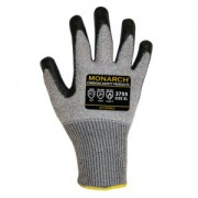 MONARCH-HCT™: 13-GAUGE, GRAY HIGH PERFORMANCE SHELL, BLACK HCT-NITRILE PALM COATING, ANSI CUT LEVEL A3