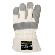 MONARCH™ LEATHER PALM: SELECT SHOULDER LEATHER PALM, WHITE CANVAS BACK, SAFETY CUFF, FULL HIGH PERFORMANCE LINING, ANSI CUT LEVEL 4