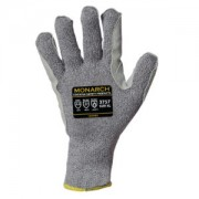 MONARCH-LEATHER™: 10-GAUGE, GRAY HIGH PERFORMANCE SHELL, LEATHER PALM, REINFORCED THUMB CROTCH, ANSI CUT LEVEL A4