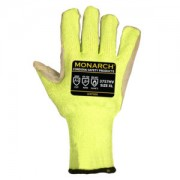 MONARCH-LEATHER™: 10-GAUGE, HI-VIS GREEN HIGH PERFORMANCE SHELL, LEATHER PALM, REINFORCED THUMB CROTCH, ANSI CUT LEVEL A4