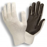 FINGERLESS, NATURAL POLY/COTTON MACHINE KNIT, BLACK PVC SCREEN-COATED PALM