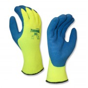 THERMA-VIZ™, 10-GAUGE, HI-VIS GREEN, BRUSHED, LOOP-IN, ACRYLIC TERRY SHELL, BLUE LATEX PALM COATING