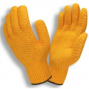 ORANGE SYNTHETIC MACHINE KNIT, SOFT PVC CRISS-CROSS COATING