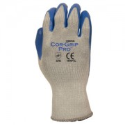 COR-GRIP PRO™ PREMIUM COATED LATEX, 10-GAUGE GRAY POLY/COTTON SHELL, BLUE LATEX PALM COATING