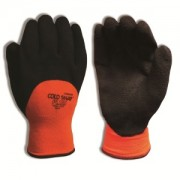 COLD SNAP PLUS™, TWO-PLY, HI-VIS ORANGE POLYESTER SHELL, BRUSHED ACRYLIC TERRY LINING, 3/4 BLACK FOAM LATEX COATING