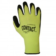 CONTACT™, 13-GAUGE, HI-VIS GREEN NYLON SHELL, BLACK FOAM LATEX PALM COATING