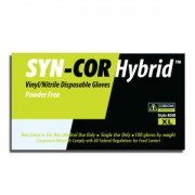 SYN-COR HYBRID™ BLUE VINYL/NITRILE BLEND, INDUSTRIAL GRADE, POWDER FREE, SMOOTH FINISH, 10 BOXES OF 100