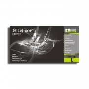 NITRI-COR SILVER™ NITRILE, INDUSTRIAL GRADE, POWDERED, TEXTURED, 4-MIL, 10 BOXES OF 100
