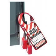 "7""X2-7/8"" LABELLED SAFETY LOCKOUT HASP RED"