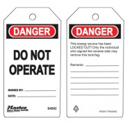 DO NOT OPERATE SAFETY TAG