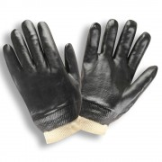 BLACK PVC, SMOOTH FINISH, INTERLOCK LINED, KNIT WRIST