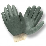 GREEN DOUBLE DIPPED, ETCHED GRIP, JERSEY LINED, KNIT WRIST
