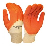 RUFFIAN™ PREMIUM RUBBER DIPPED, JERSEY LINED, ORANGE CRINKLE FINISH, KNIT WRIST