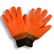 HI-VIS ORANGE, DOUBLE DIPPED, FOAM INSULATED PVC, TEXTURED FINISH, KNIT WRIST