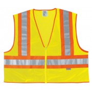 FLUORESCENT LINE SAFETYVEST W/ ORNG/SIL STRIPES