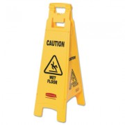 YELLOW FLOOR SIGN W/WETFLOOR IN ENGLISH
