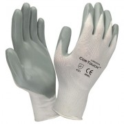 COR-TOUCH™ 13-GAUGE, WHITE NYLON SHELL, GRAY FLAT NITRILE PALM COATING