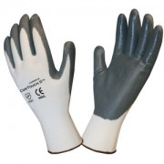 COR-TOUCH II™ 13-GAUGE, WHITE POLYESTER SHELL, GRAY FLAT NITRILE PALM COATING
