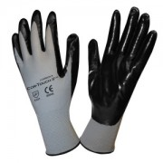 COR-TOUCH II™ 13-GAUGE, GRAY POLYESTER SHELL, BLACK FLAT NITRILE PALM COATING