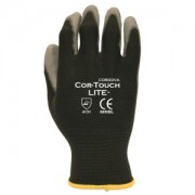 COR-TOUCH LITE™ PREMIUM, 15-GAUGE, BLACK NYLON SHELL, GRAY POLYURETHANE PALM COATING