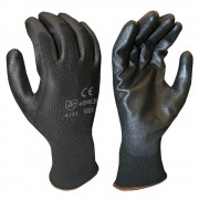 STANDARD, 13-GAUGE, BLACK POLYESTER SHELL, BLACK POLYURETHANE PALM COATING