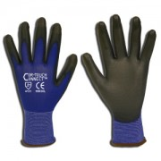 COR-TOUCH CONNECT™ 13-GAUGE, BLUE NYLON SHELL, TOUCH SCREEN THUMB, INDEX & MIDDLE FINGER, BLACK POLYURETHANE PALM COATING