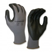 COR-TOUCH SAND-GRIP™ 13-GAUGE, GRAY POLYESTER SHELL, BLACK SANDY NITRILE PALM COATING