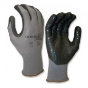 CONQUEST PLUS™, PREMIUM, GRAY NYLON/SPANDEX SHELL, BLACK FOAM NITRILE/PU PALM COATING, BLACK NITRILE DOTS