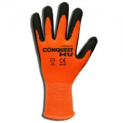 CONQUEST HV™, PREMIUM, HI-VIS ORANGE NYLON/SPANDEX SHELL, BLACK FOAM NITRILE/PU PALM COATING