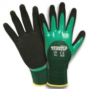TANDEM PLUS™, 15-GAUGE, GREEN POLYESTER/SPANDEX SHELL, 3/4 TWO-LAYER SANDY NITRILE COATING