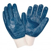 BRAWLER™ PREMIUM DIPPED NITRILE, ROUGH PALM COATED, JERSEY LINED, KNIT WRIST, SANITIZED®